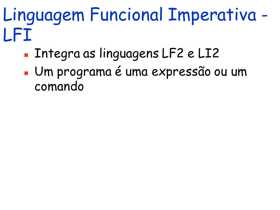 Linguagem Imperativa 2 - LI2 Estende LI1 com procedimentos parametrizados e recursivos O corpo de um procedimento é um comando e a chamada de um procedimento idem O contexto também é estendido com: um mapeamento de identificadores (nomes de procedimentos) em definições de procedimentos Procedimentos não possuem o status de valor Um programa é um comando