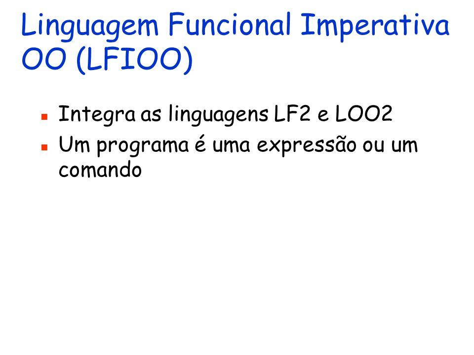 Linguagem OO 2 Estende LOO1 com herança e subtipos Procedimentos (métodos) podem ser redefinidos O contexto também é estendido com: uma estrutura para registrar a hierarquia de classes Um programa é um comando
