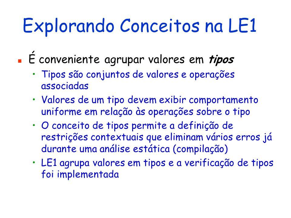 Explorando Conceitos na LE1 O componente mais básico é valor Um valor é algo que pode ser avaliado, armazenado, incorporado em estruturas de dados, passado como parâmetro, retornado como resultado,...