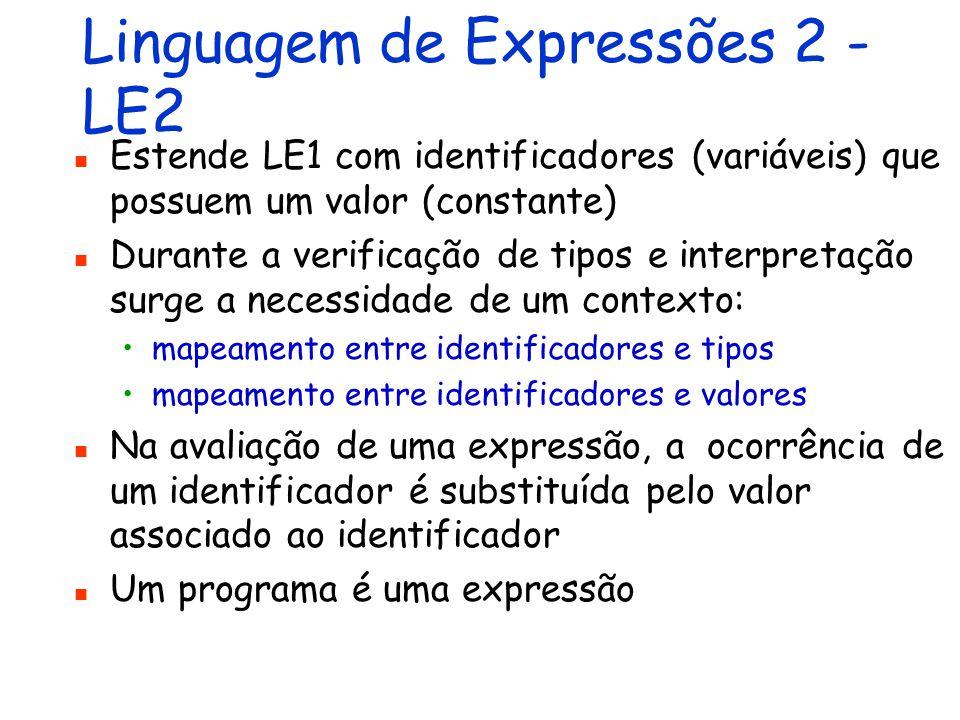 Linguagem de Expressões 1 - LE1 Inclui apenas constantes (valores) e operações sobre valores Valores e operações sobre inteiros, booleanos e string são admitidos Um programa é uma expressão