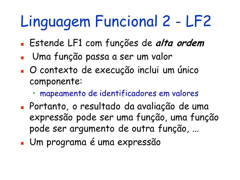 Linguagem Funcional 1 - LF1 Estende LE2 com funções parametrizadas e recursivas O corpo de uma função é uma expressão e a aplicação da função a um argumento retorna um valor O contexto de execução inclui dois componentes: mapeamento de identificadores em valores mapeamento de identificadores (nomes de função) em definições de função Um programa é uma expressão