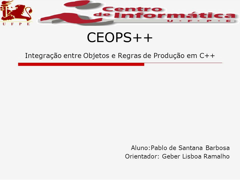CEOPS++ Integração entre Objetos e Regras de Produção em C++ Aluno:Pablo de Santana Barbosa Orientador: Geber Lisboa Ramalho