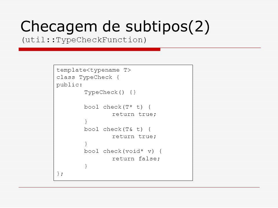 Checagem de subtipos(2) (util::TypeCheckFunction) template class TypeCheck { public: TypeCheck() {} bool check(T* t) { return true; } bool check(T& t)