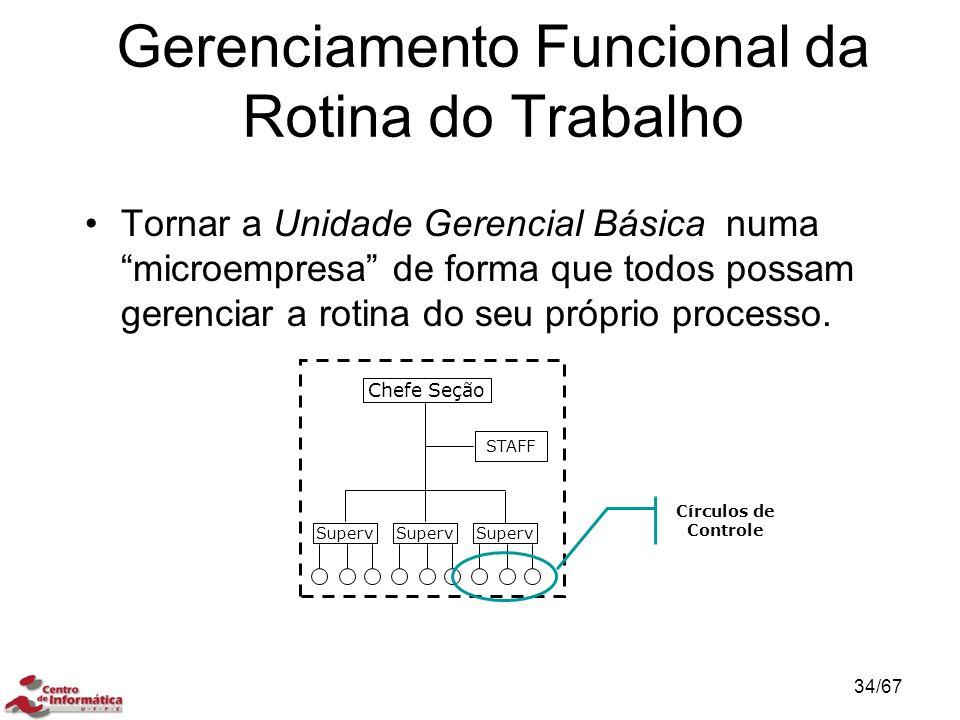 Gerenciamento Funcional da Rotina do Trabalho Tornar a Unidade Gerencial Básica numa microempresa de forma que todos possam gerenciar a rotina do seu próprio processo.