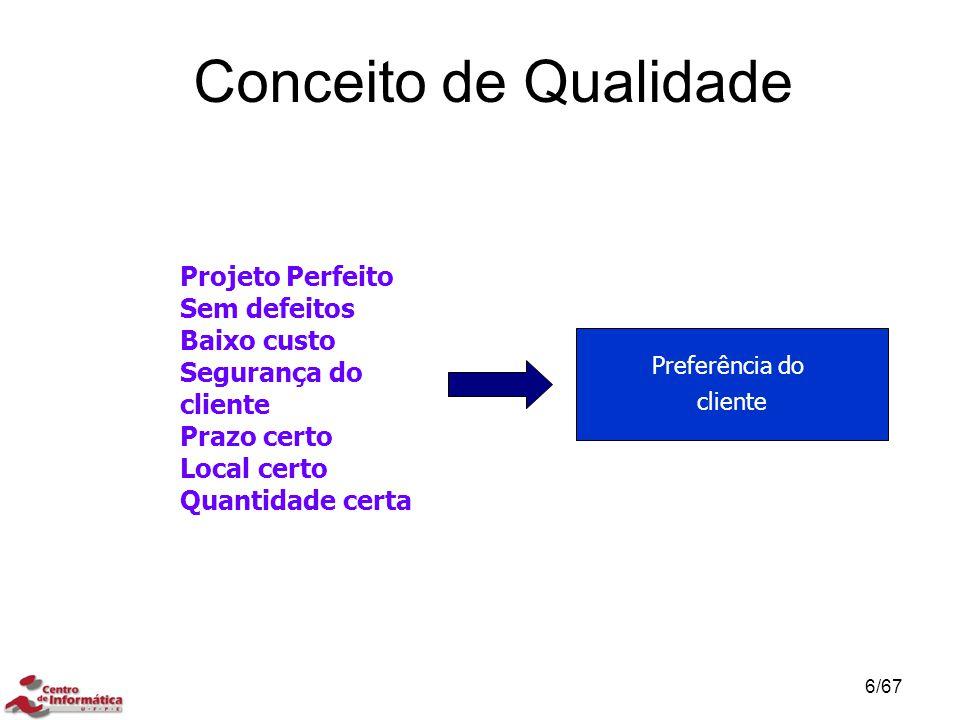 Referências TQC: Controle Total da Qualidade (no Estilo Japonês), Vicente Falconi Campos, 2003 Fundação Nacional da Qualidade –http://www.fnq.org.br Uniona Japanese of Scientists and Engineers –http://www.juse.or.jp/e/ Associação Brasileira de Controle da Qualidade –http://www.abcq.org.br Instituto de Desenvolvimento Gerencial –http://www.indg.com.br/ 67/67