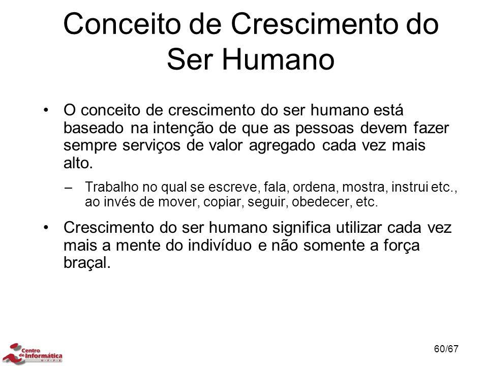 O conceito de crescimento do ser humano está baseado na intenção de que as pessoas devem fazer sempre serviços de valor agregado cada vez mais alto.
