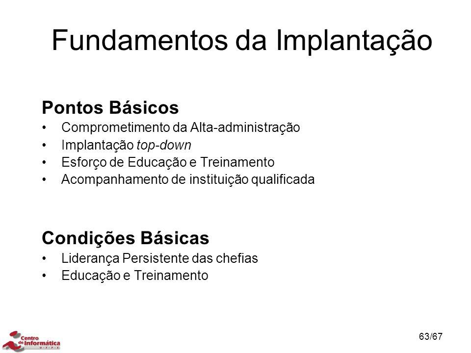 Fundamentos da Implantação Pontos Básicos Comprometimento da Alta-administração Implantação top-down Esforço de Educação e Treinamento Acompanhamento de instituição qualificada Condições Básicas Liderança Persistente das chefias Educação e Treinamento 63/67