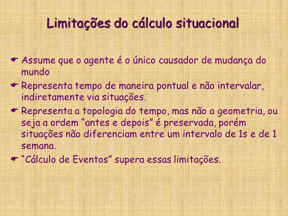 Limitações do cálculo situacional   Assume que o agente é o único causador de mudança do mundo   Representa tempo de maneira pontual e não interva