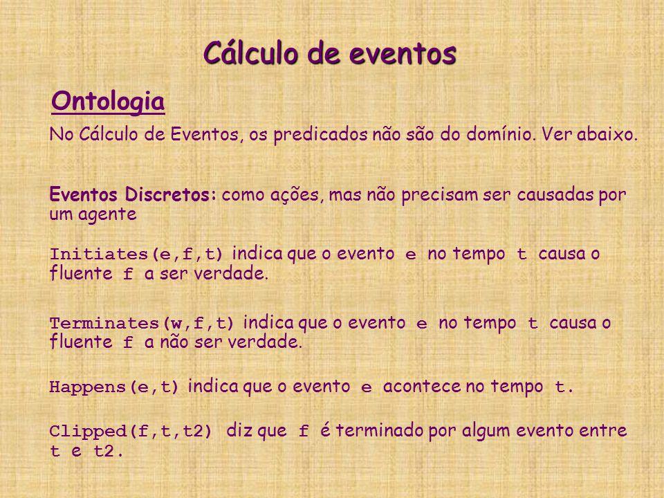 Cálculo de eventos No Cálculo de Eventos, os predicados não são do domínio. Ver abaixo. Eventos Discretos: como ações, mas não precisam ser causadas p