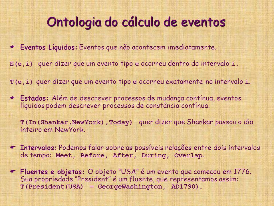 Ontologia do cálculo de eventos   Eventos Líquidos: Eventos que não acontecem imediatamente. E(e,i) quer dizer que um evento tipo e ocorreu dentro d