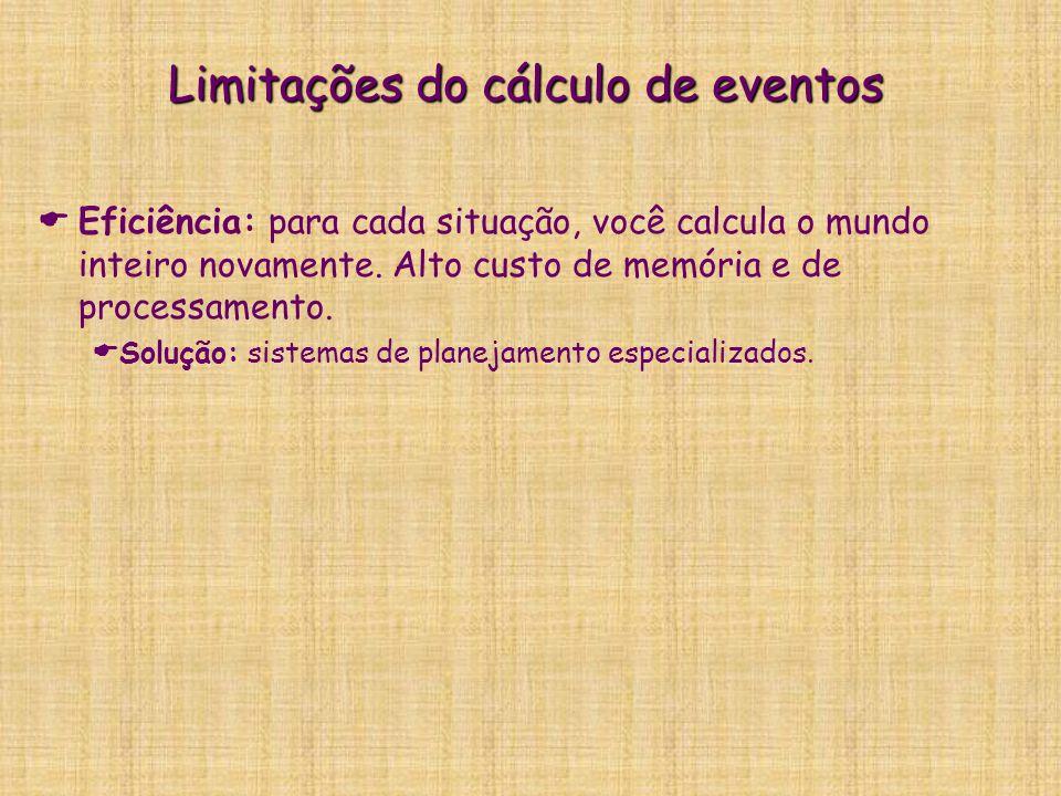 Limitações do cálculo de eventos   Eficiência: para cada situação, você calcula o mundo inteiro novamente. Alto custo de memória e de processamento.