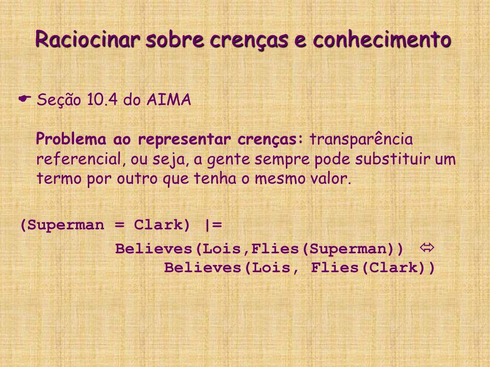 Raciocinar sobre crenças e conhecimento   Seção 10.4 do AIMA Problema ao representar crenças: transparência referencial, ou seja, a gente sempre pod