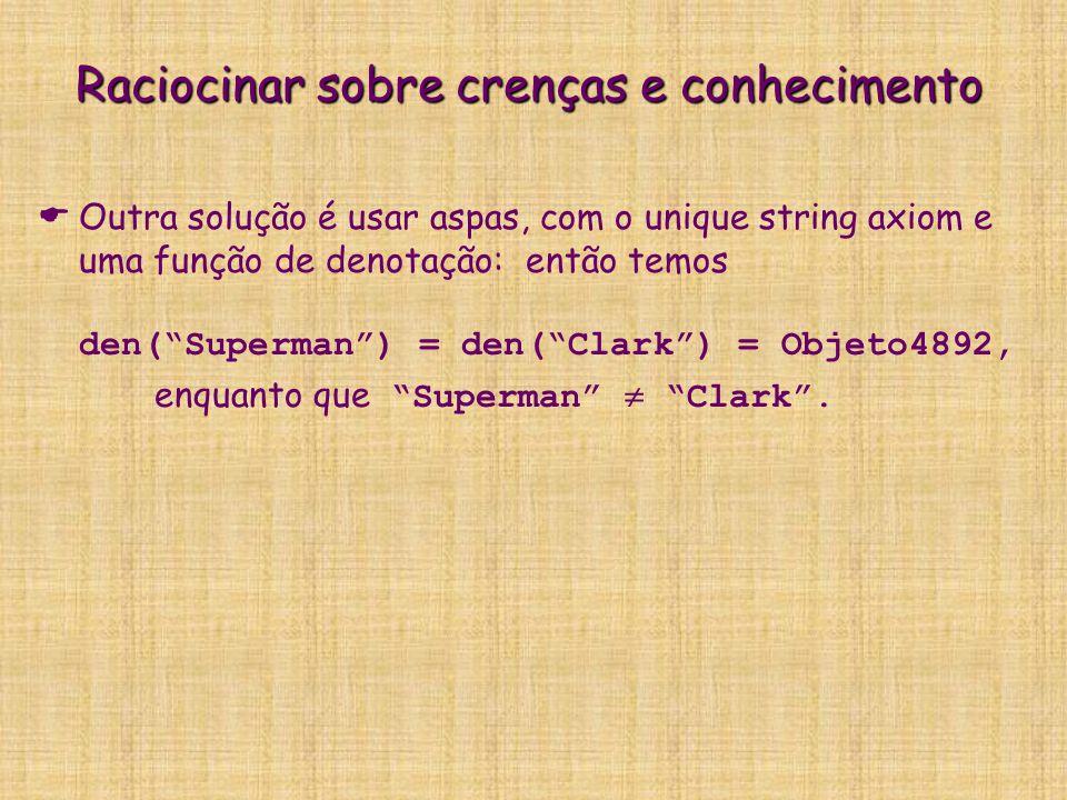"""  Outra solução é usar aspas, com o unique string axiom e uma função de denotação: então temos den(""""Superman"""") = den(""""Clark"""") = Objeto4892, enquanto"""