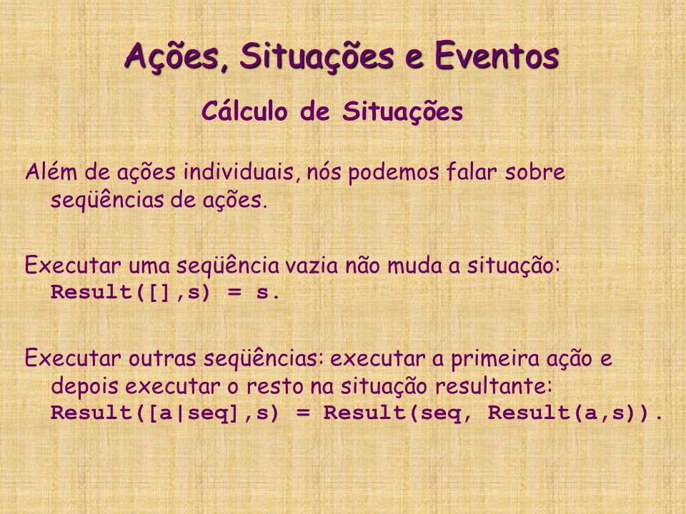 Cálculo de eventos No Cálculo de Eventos, os predicados não são do domínio.
