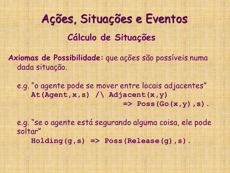 Ações, Situações e Eventos Cálculo de Situações Axiomas de Consequências: quais propriedades (fluentes) vão ser setadas como resultado de executar a ação.