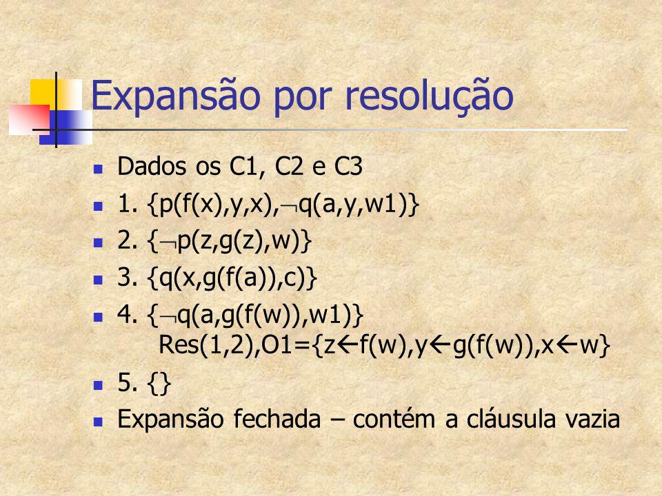Dados os C1, C2 e C3 1. {p(f(x),y,x),  q(a,y,w1)} 2. {  p(z,g(z),w)} 3. {q(x,g(f(a)),c)} 4. {  q(a,g(f(w)),w1)} Res(1,2),O1={z  f(w),y  g(f(w)),x