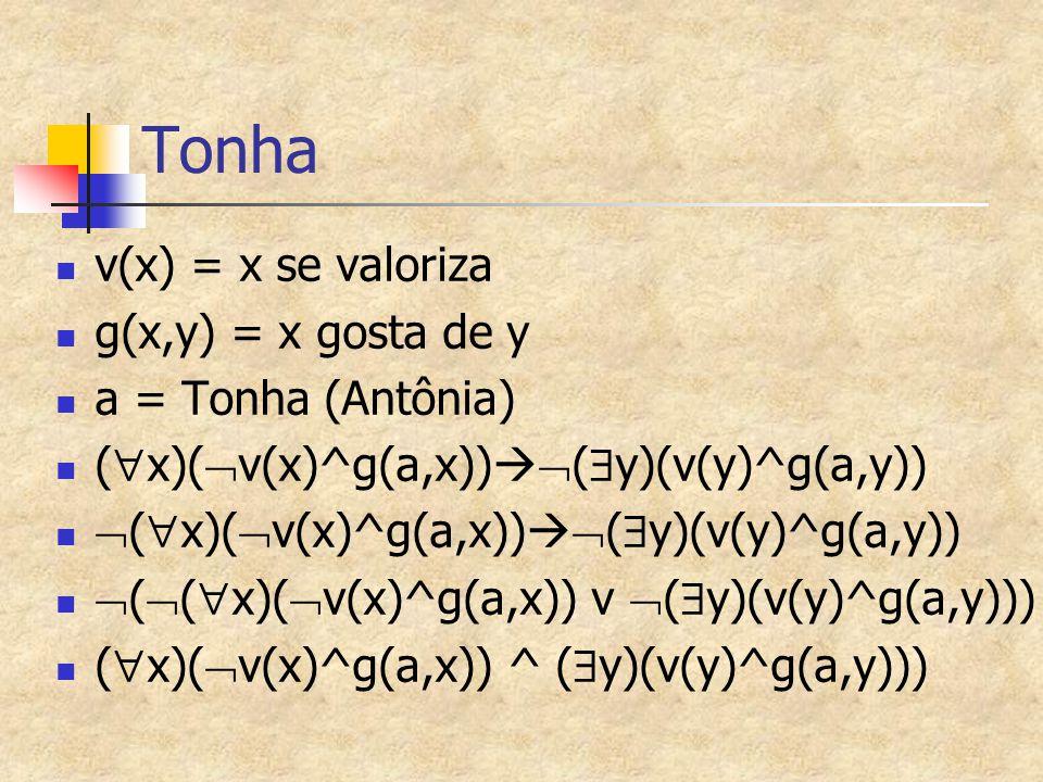 Tonha v(x) = x se valoriza g(x,y) = x gosta de y a = Tonha (Antônia) (  x)(  v(x)^g(a,x))   (  y)(v(y)^g(a,y))  (  x)(  v(x)^g(a,x))   (  y