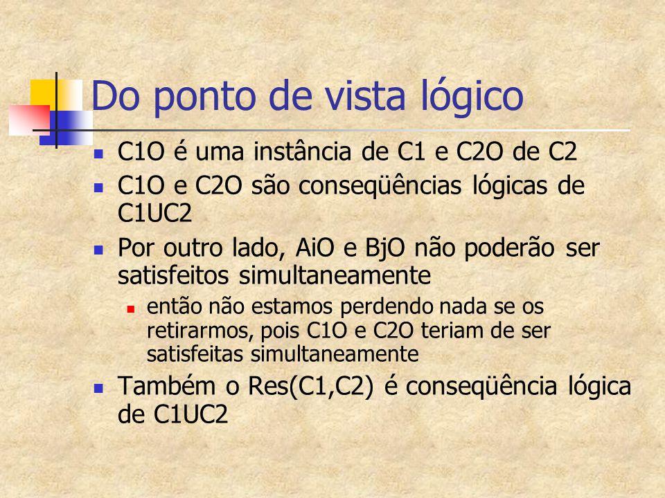 Do ponto de vista lógico C1O é uma instância de C1 e C2O de C2 C1O e C2O são conseqüências lógicas de C1UC2 Por outro lado, AiO e BjO não poderão ser