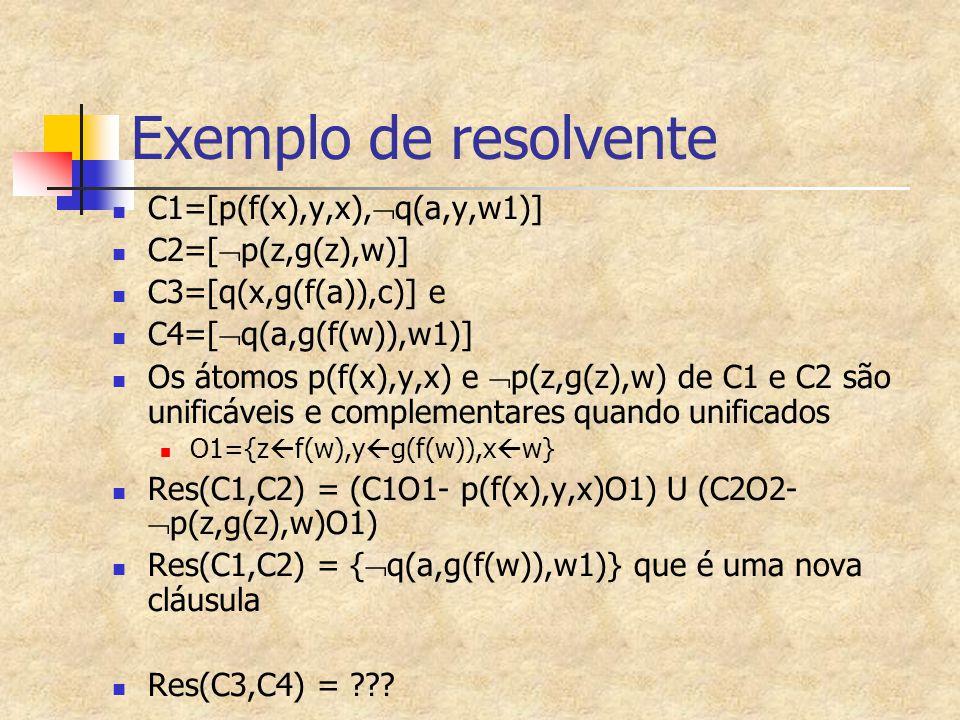 Exemplo 2 de Prova por resolução (cont.) 1.[  e(x),v(x),r(x,f(x))] 2.[  e(x),v(x),o(f(x))] 3.[e(a)] 4.[t(a)] 5.[  r(a,y),t(y)] 6.[  t(x),  v(x)] 7.[  o(x),  t(x)] 8.[  v(a)] Res(4,6),O1={x  a} 9.[v(a),o(f(a))] Res(2,3),O1 10.[o(f(a))] Res(8,9) 11.[v(a),r(a,f(a))] Res(1,3),O1 12.[r(a,f(a))] Res(8,11) 13.[t(f(a))] Res(5,12){y  f(a)} 14.[  o(f(a))] Res(7,13) {x  f(a)} 15.{} !!!!!