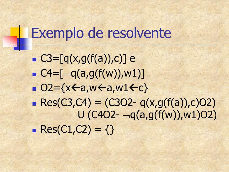 Exemplo de resolvente C3=[q(x,g(f(a)),c)] e C4=[  q(a,g(f(w)),w1)] O2={x  a,w  a,w1  c} Res(C3,C4) = (C3O2- q(x,g(f(a)),c)O2) U (C4O2-  q(a,g(f(w