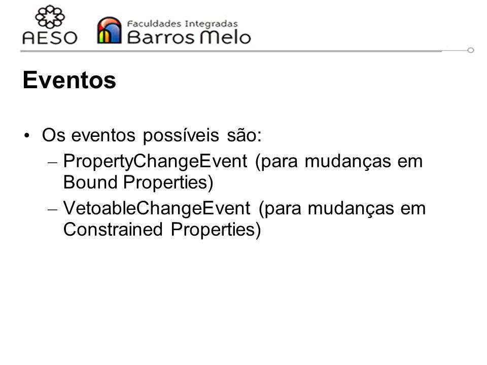 Eventos Os eventos possíveis são: – PropertyChangeEvent (para mudanças em Bound Properties) – VetoableChangeEvent (para mudanças em Constrained Properties)