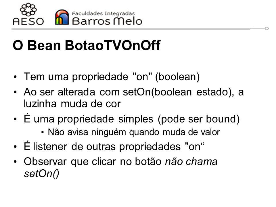 O Bean BotaoTVOnOff Tem uma propriedade on (boolean) Ao ser alterada com setOn(boolean estado), a luzinha muda de cor É uma propriedade simples (pode ser bound) Não avisa ninguém quando muda de valor É listener de outras propriedades on Observar que clicar no botão não chama setOn()