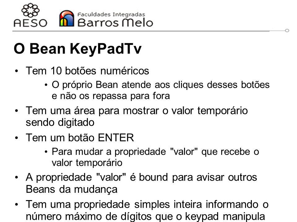 O Bean KeyPadTv Tem 10 botões numéricos O próprio Bean atende aos cliques desses botões e não os repassa para fora Tem uma área para mostrar o valor temporário sendo digitado Tem um botão ENTER Para mudar a propriedade valor que recebe o valor temporário A propriedade valor é bound para avisar outros Beans da mudança Tem uma propriedade simples inteira informando o número máximo de dígitos que o keypad manipula
