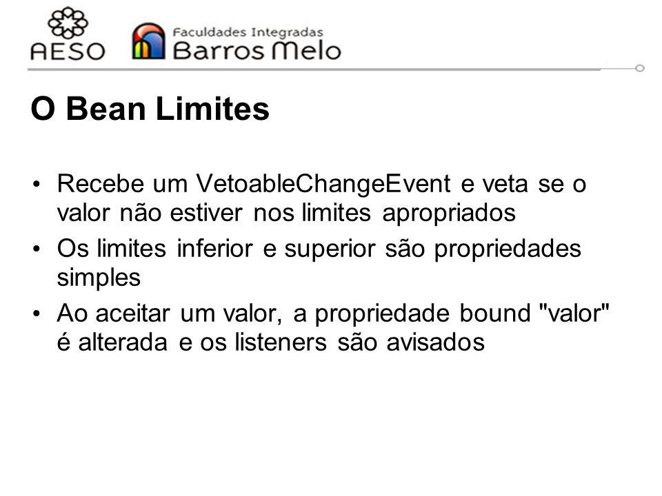 O Bean Limites Recebe um VetoableChangeEvent e veta se o valor não estiver nos limites apropriados Os limites inferior e superior são propriedades simples Ao aceitar um valor, a propriedade bound valor é alterada e os listeners são avisados