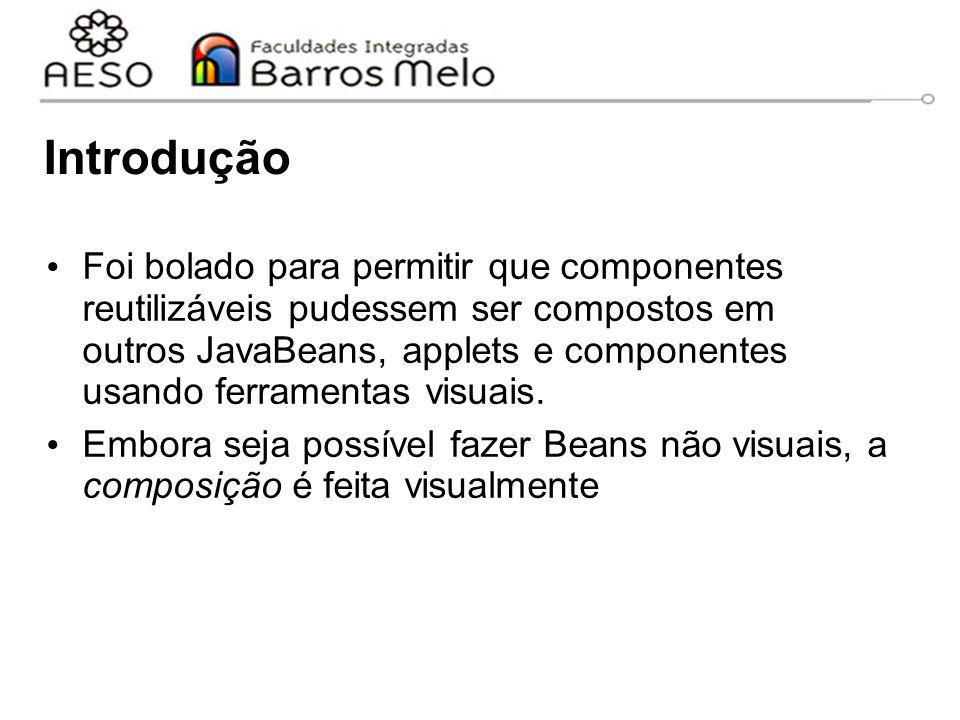 Exemplo: SimpleBean import java.awt.Color; import java.beans.XMLDecoder; import javax.swing.JLabel; import java.io.Serializable; public class SimpleBean extends JLabel implements Serializable { public SimpleBean() { setText( Hello world! ); setOpaque( true ); setBackground( Color.RED ); setForeground( Color.YELLOW ); setVerticalAlignment( CENTER ); setHorizontalAlignment( CENTER ); }