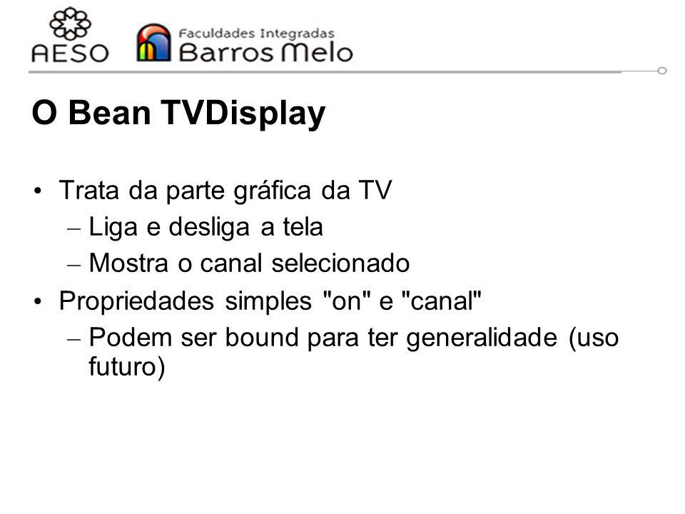 O Bean TVDisplay Trata da parte gráfica da TV – Liga e desliga a tela – Mostra o canal selecionado Propriedades simples on e canal – Podem ser bound para ter generalidade (uso futuro)