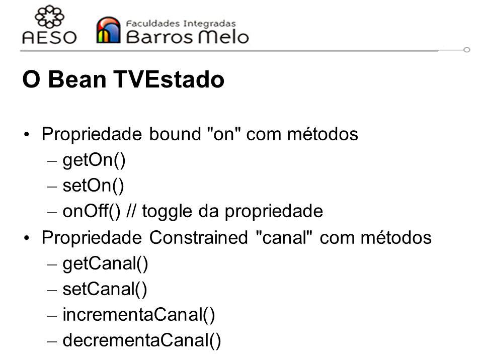 O Bean TVEstado Propriedade bound on com métodos – getOn() – setOn() – onOff() // toggle da propriedade Propriedade Constrained canal com métodos – getCanal() – setCanal() – incrementaCanal() – decrementaCanal()