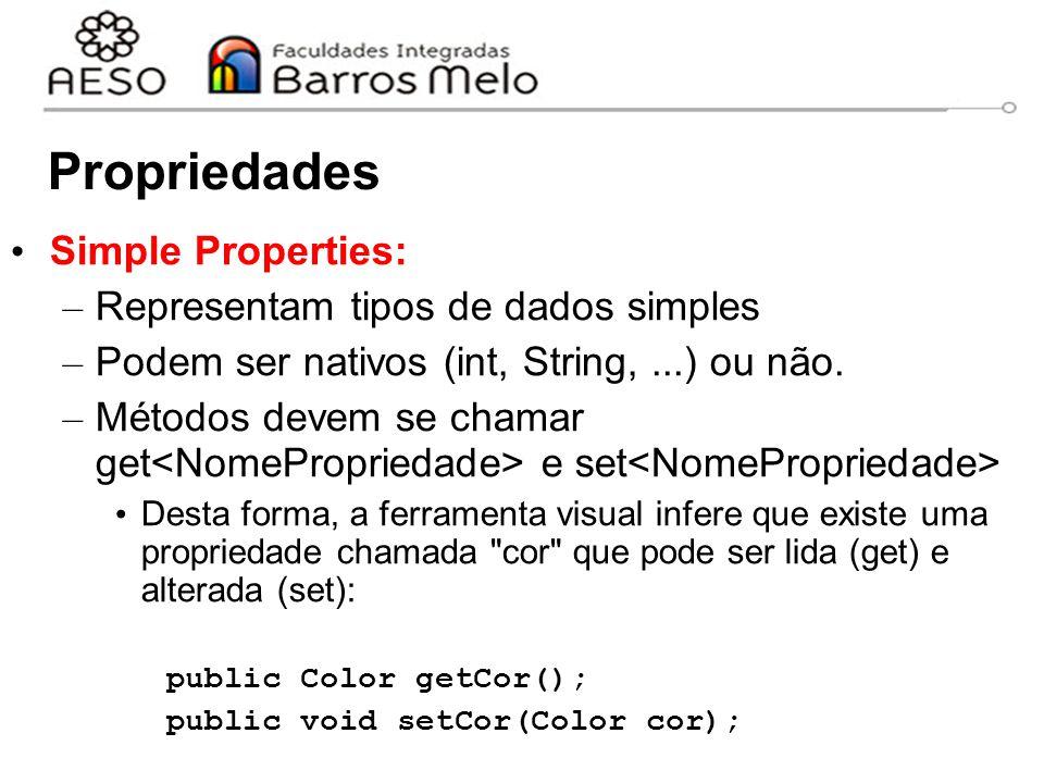 Propriedades Indexed Properties: – Contêm um array de valores possíveis – Métodos getter e setter são como para Simple Properties mas manipulam um array, ou recebem um índice a mais public String[] getEstados() public String getEstados(int índice) public void setEstados(String[] estados) public void setEstados(int índice, String estado)