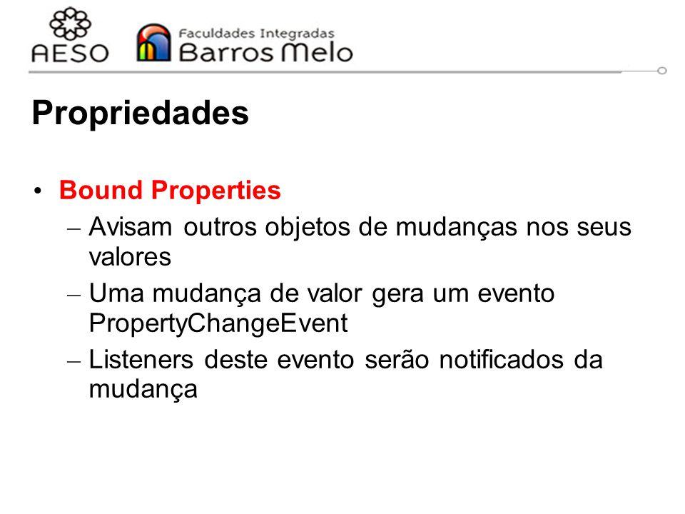 Propriedades Bound Properties – Avisam outros objetos de mudanças nos seus valores – Uma mudança de valor gera um evento PropertyChangeEvent – Listeners deste evento serão notificados da mudança
