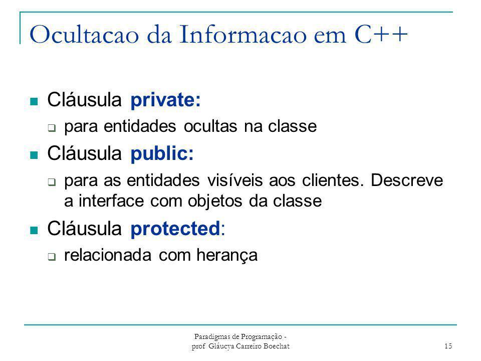 Ocultacao da Informacao em C++ Cláusula private:  para entidades ocultas na classe Cláusula public:  para as entidades visíveis aos clientes. Descre