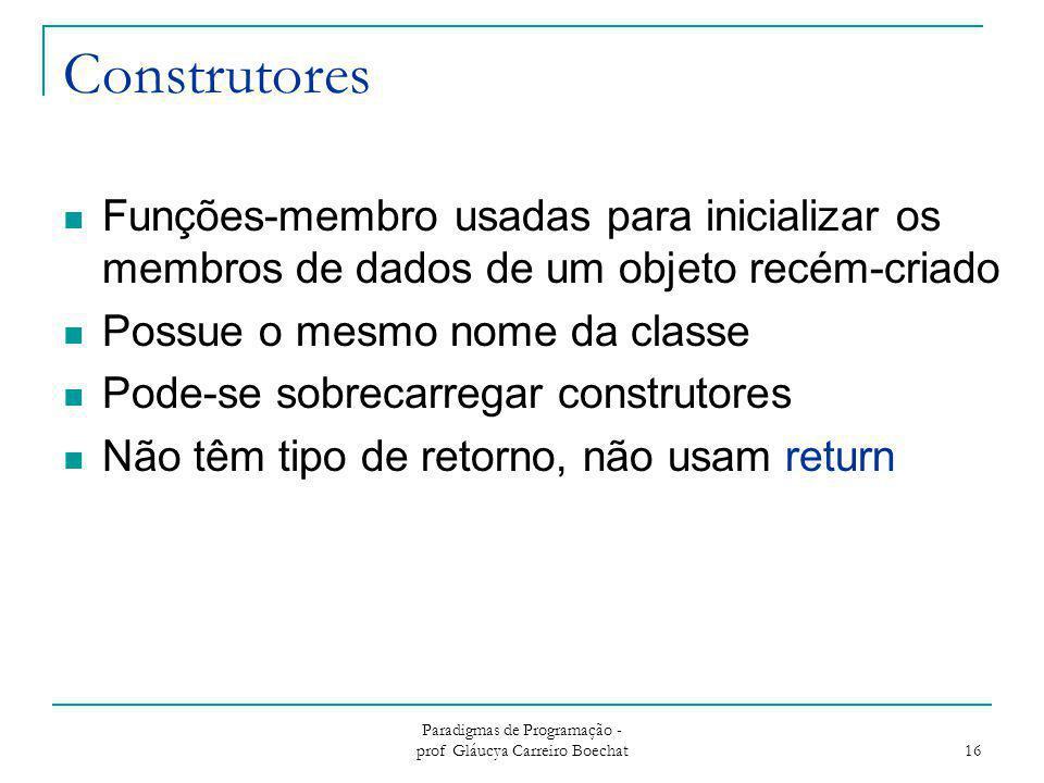 Construtores Funções-membro usadas para inicializar os membros de dados de um objeto recém-criado Possue o mesmo nome da classe Pode-se sobrecarregar