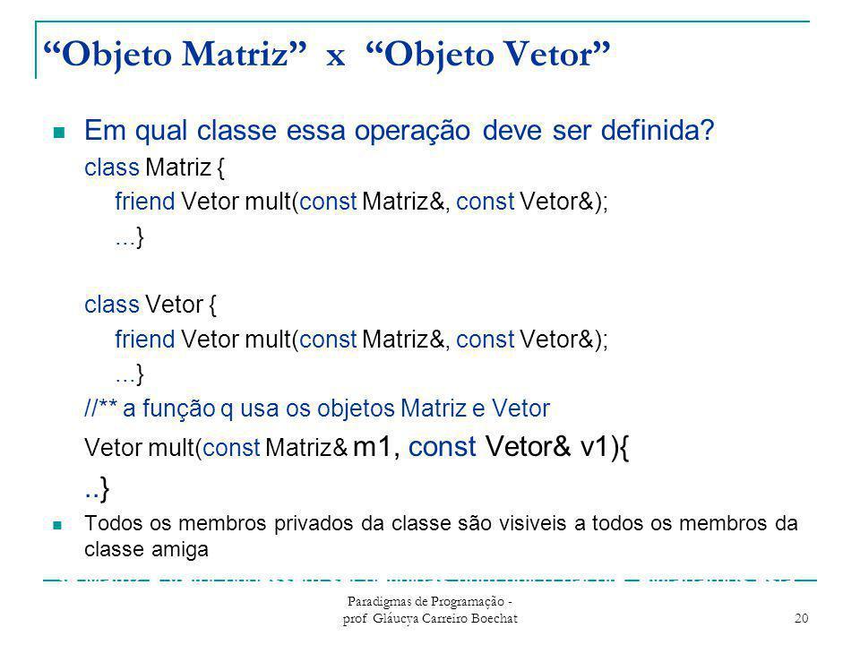 """Objeto Matriz"" x ""Objeto Vetor"" Em qual classe essa operação deve ser definida? class Matriz { friend Vetor mult(const Matriz&, const Vetor&);...} cl"