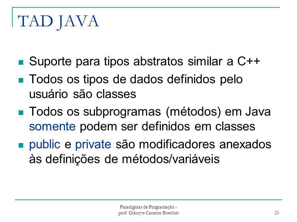 TAD JAVA Suporte para tipos abstratos similar a C++ Todos os tipos de dados definidos pelo usuário são classes Todos os subprogramas (métodos) em Java