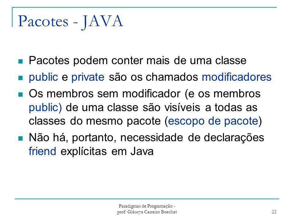 Pacotes - JAVA Pacotes podem conter mais de uma classe public e private são os chamados modificadores Os membros sem modificador (e os membros public)