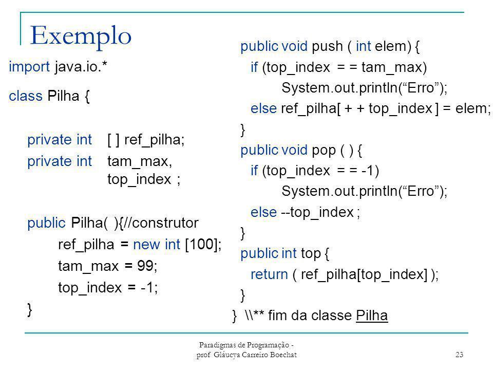 Exemplo import java.io.* class Pilha { private int [ ] ref_pilha; private int tam_max, top_index ; public Pilha( ){//construtor ref_pilha = new int [1