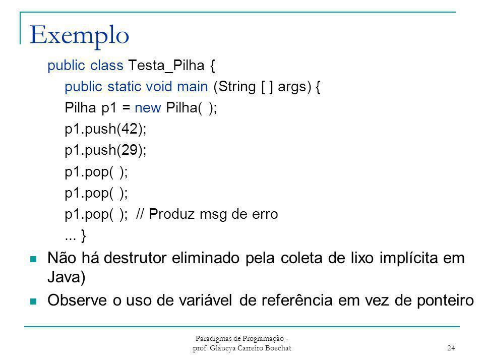 Exemplo public class Testa_Pilha { public static void main (String [ ] args) { Pilha p1 = new Pilha( ); p1.push(42); p1.push(29); p1.pop( ); p1.pop( )