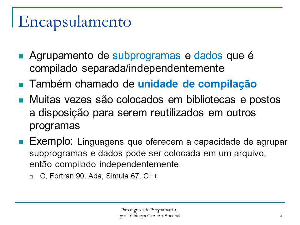 Encapsulamento Agrupamento de subprogramas e dados que é compilado separada/independentemente Também chamado de unidade de compilação Muitas vezes são