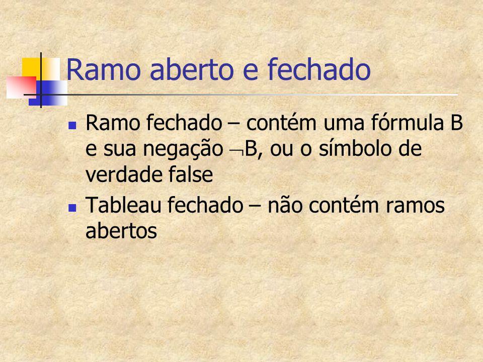 Ramo aberto e fechado Ramo fechado – contém uma fórmula B e sua negação  B, ou o símbolo de verdade false Tableau fechado – não contém ramos abertos