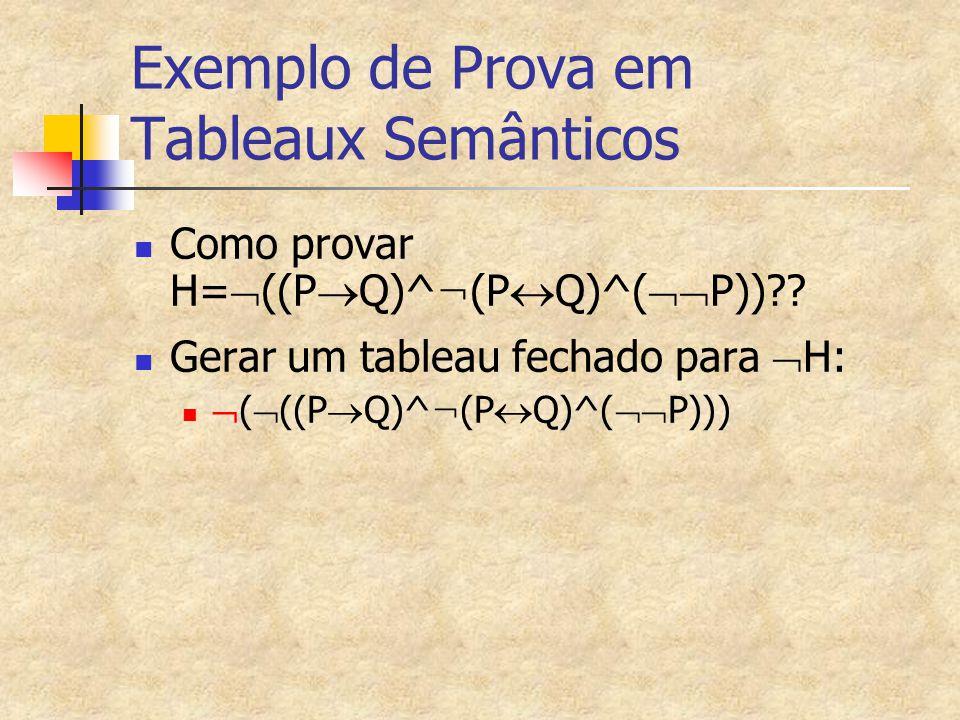 Exemplo de Prova em Tableaux Semânticos Como provar H=  ((P  Q)^ ¬ (P  Q)^(  P))?? Gerar um tableau fechado para  H:  (  ((P  Q)^ ¬ (P  Q)^(