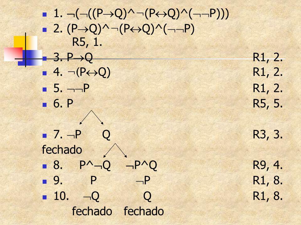 1.  (  ((P  Q)^ ¬ (P  Q)^(  P))) 2. (P  Q)^ ¬ (P  Q)^(  P) R5, 1. 3. P  QR1, 2. 4. ¬( P  Q)R1, 2. 5.  PR1, 2. 6. PR5, 5. 7.  PQR3, 3. f