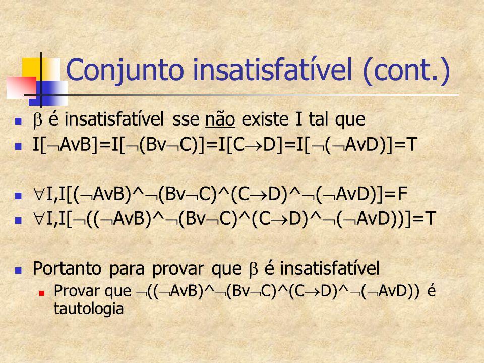 Conjunto insatisfatível (cont.)  é insatisfatível sse não existe I tal que I[  AvB]=I[  (Bv  C)]=I[C  D]=I[  (  AvD)]=T  I,I[(  AvB)^  (Bv 