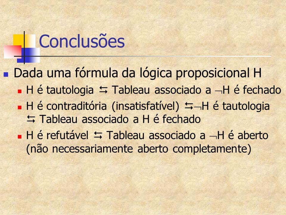 Conclusões Dada uma fórmula da lógica proposicional H H é tautologia  Tableau associado a  H é fechado H é contraditória (insatisfatível)   H é ta