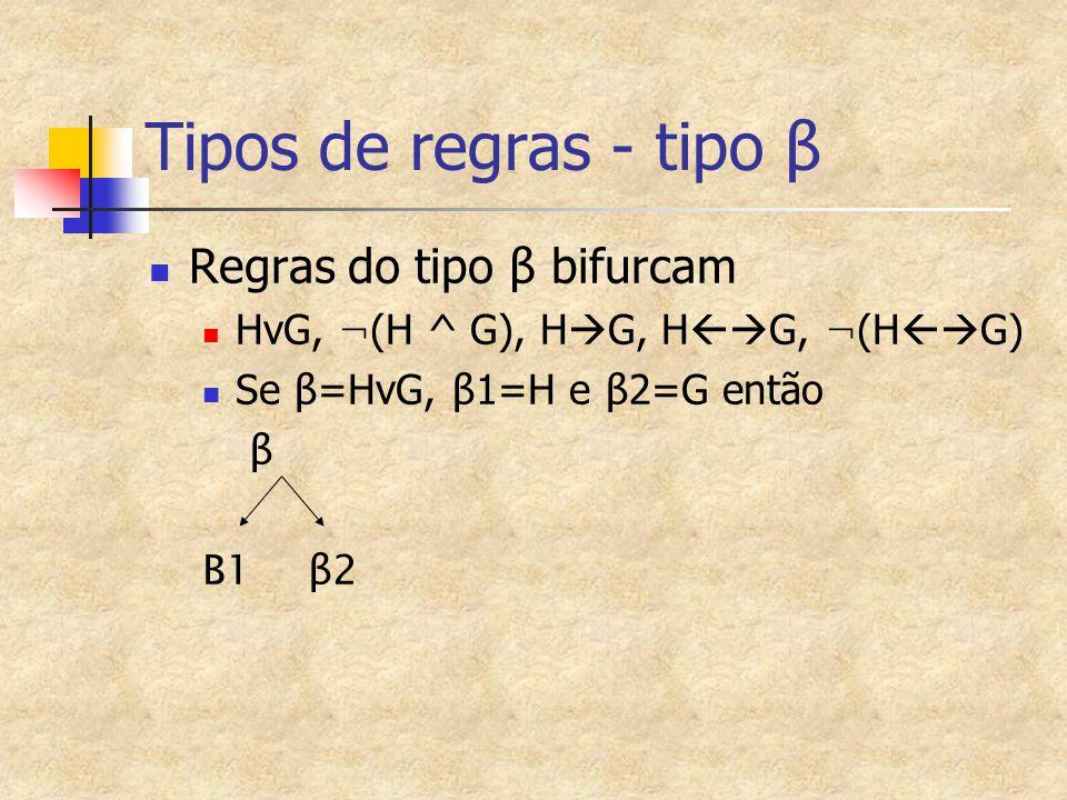 Tipos de regras - tipo β Regras do tipo β bifurcam HvG, ¬ (H ^ G), H  G, H  G, ¬ (H  G) Se β =HvG, β 1=H e β 2=G então β Β1 β2
