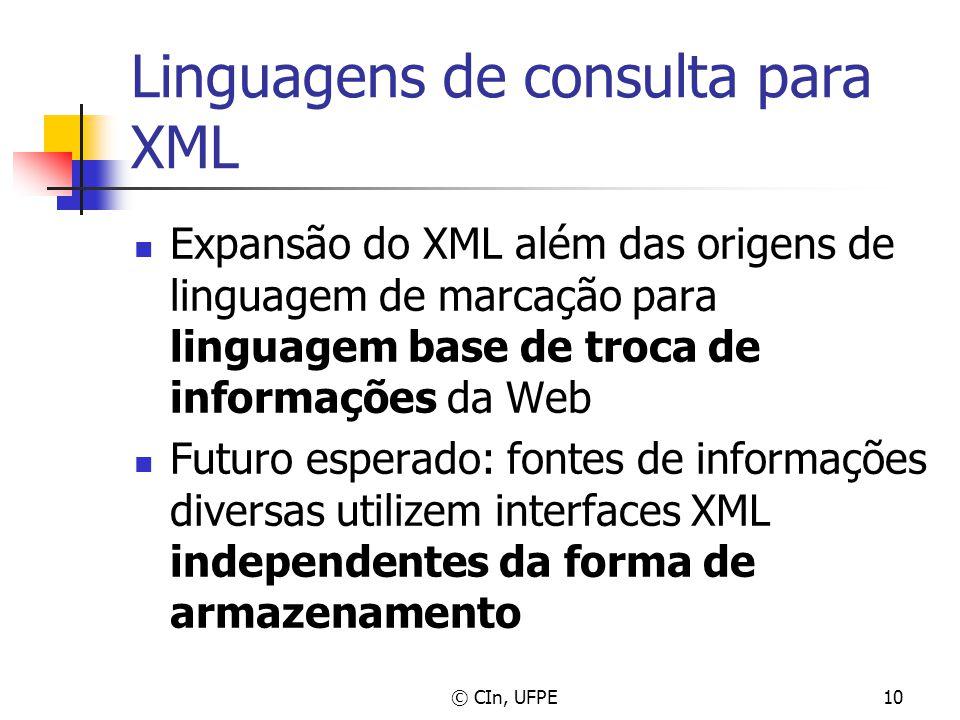 © CIn, UFPE10 Linguagens de consulta para XML Expansão do XML além das origens de linguagem de marcação para linguagem base de troca de informações da