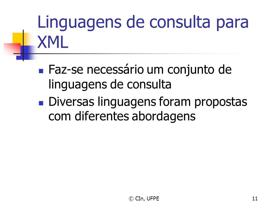 © CIn, UFPE11 Linguagens de consulta para XML Faz-se necessário um conjunto de linguagens de consulta Diversas linguagens foram propostas com diferent