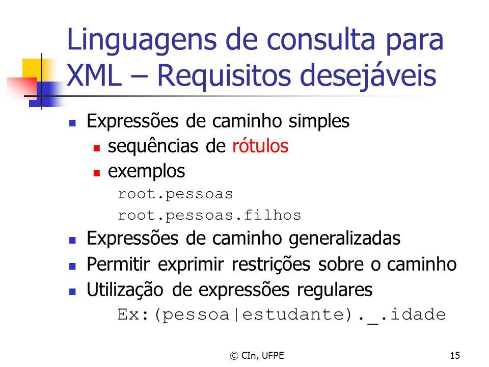 © CIn, UFPE15 Linguagens de consulta para XML – Requisitos desejáveis Expressões de caminho simples sequências de rótulos exemplos root.pessoas root.p